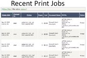 PaperCut job log