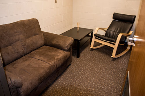Inside view of EvCC Lactation Room in Parks Student Union room 224