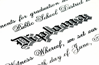 image of writing on a diploma