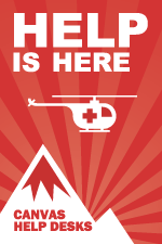 Canvas Help Desk illustration, showing a rescue helicopter above a mountain peak, accompanied by the phrase 'Help is here'